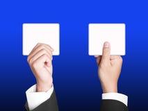 Het teken van het document met Bedrijfshanden Stock Foto