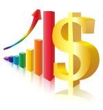Het teken van het geld vóór veelkleurig staafdiagram Stock Afbeeldingen
