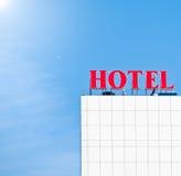 Het teken van het hotel bij de bouw Royalty-vrije Stock Foto's