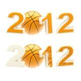 Het teken van het jaar 2012: aantallen die door basketbalbal worden verpletterd Royalty-vrije Stock Fotografie