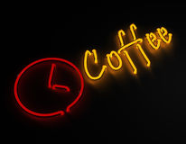 Het teken van het koffieneon op zwarte achtergrond stock illustratie