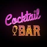 Het teken van het neon De bar van de cocktail royalty-vrije illustratie