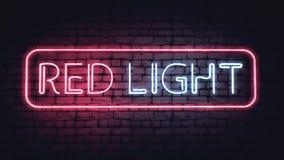Het teken van het neonrode licht Stock Fotografie