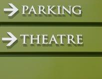 Het Teken van het Parkeren van het theater Stock Afbeeldingen