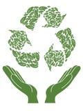 Het teken van het recycling boven hand Royalty-vrije Stock Fotografie