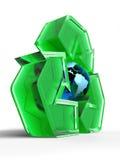 Het Teken van het recycling met een Bol Royalty-vrije Stock Fotografie