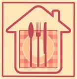 Het teken van het restaurant met huissilhouet en werktuig Stock Afbeelding