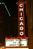 Het Teken van het Theater van Chicago bij Nacht Stock Afbeeldingen