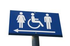 Het teken van het toilet dat op wit wordt geïsoleerdt Stock Afbeelding
