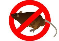 Het teken van het verbod en een rat Stock Fotografie
