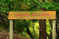 Het teken van het Waikatomoerasland - Nieuw Zeeland Stock Fotografie