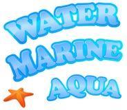 Het teken van het water, van de marine en van aqua Stock Afbeeldingen