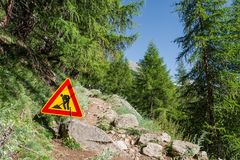 Het teken van het wegwerk Stock Foto's