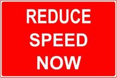 Het teken van het wegwerk vermindert nu snelheid stock illustratie