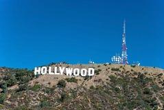 Het teken van Hollywood op de bergen van Monica van de Kerstman in Los Angeles Royalty-vrije Stock Afbeeldingen