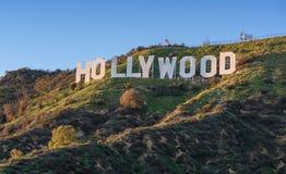 Het teken van Hollywood op een blauwe hemel Royalty-vrije Stock Foto's