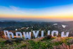 Het teken van Hollywood op een blauwe hemel Stock Fotografie