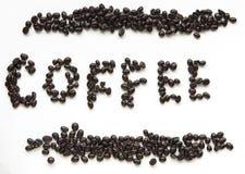 Het teken van koffiebonen stock fotografie