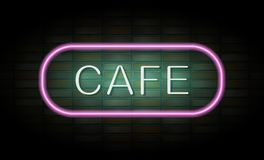 Het teken van het koffieneon op bakstenen muur Royalty-vrije Stock Foto's