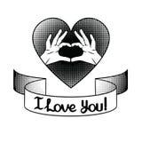 Het teken van liefde over halftone achtergrond met lint en het van letters voorzien I houden van u vector illustratie