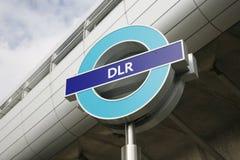 Het Teken van Londen DLR stock fotografie