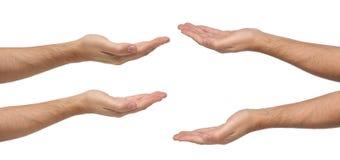 Het teken van mensenhanden op wit wordt geïsoleerd dat Stock Afbeelding