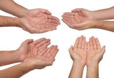 Het teken van mensenhanden op wit wordt geïsoleerd dat Stock Afbeeldingen