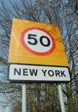 Het teken van New York stock foto