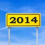 het teken van 2014 op streetboard Stock Afbeelding