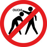 Het teken van Ouch. Het raken en het slaan zijn verboden Royalty-vrije Stock Afbeelding