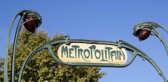 Het teken van Parijs Metropolitain royalty-vrije stock afbeelding