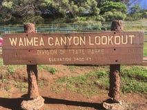 Het teken van het het parkvooruitzicht van de Waimeacanion stock fotografie