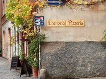 Het teken van pizzeriatratoria in Trastevere Stock Fotografie