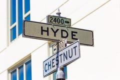 Het teken van San Francisco Hyde Street met Chesnut Californië stock afbeelding