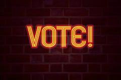 Het teken van het stemneon op bakstenen muurachtergrond Fluorescent T.L.-buisteken op metselwerk Bedrijfsconcept voor het Stemmen Stock Afbeeldingen