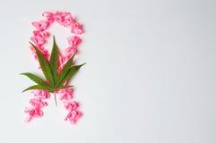 Het teken van strijdkanker van roze linten wordt gemaakt dat Stock Fotografie