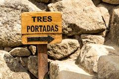 Het teken van Tresportadas Machu Picchu, Cusco, Peru, Zuid-Amerika royalty-vrije stock foto's