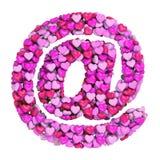 Het teken van Valentine e-mail - 3d symbool van het @-tekenhart - geschikt voor de dag van Valentine, romantism of hartstocht ver royalty-vrije illustratie