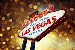 Het Teken van Vegas van Las met bokehachtergrond Stock Foto's