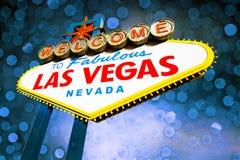 Het Teken van Vegas van Las met bokehachtergrond royalty-vrije stock fotografie