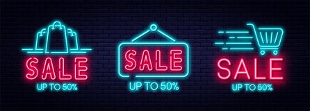 Het teken van het verkoopneon, verkoop en kortingsconcept Reeks gloeiende neontekens voor e-commerce, reclame, banner, aanplakbor royalty-vrije illustratie