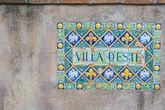 Het teken van villad ` Este op de muur, Tivoly, Italië Royalty-vrije Stock Fotografie