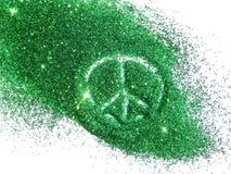 Het teken van vreedzaam op groen schittert fonkelingen op witte achtergrond Stock Afbeeldingen