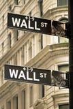 Het teken van Wall Street in de stad van New York Royalty-vrije Stock Afbeelding