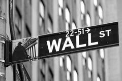 Het teken van Wall Street in de stad van New York Royalty-vrije Stock Afbeeldingen