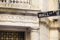 Het teken van Wall Street in New York Stock Foto