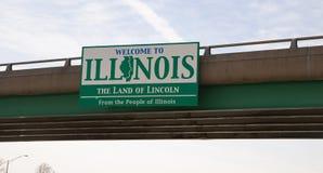Het Teken van het Wegviaduct zegt Welcom aan Illinois het Land van Lincoln Stock Foto