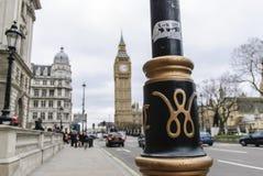 Het teken van Westminster op lamppost Stock Foto