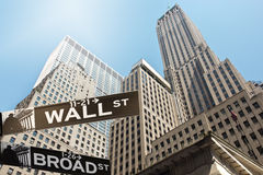Het teken Wall Street van de straat stock foto's