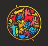 Het tekenhoogtepunt van de bol van oriëntatiepuntensymbolen Royalty-vrije Stock Afbeeldingen